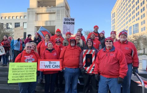 Gibson County teachers at the Red for Ed rally in Indianapolis, IN