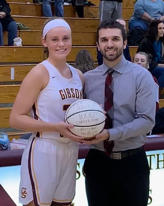 Senior Meredith Raley was honored before the game on 12/9 for passing 1,000 career points. Raley was presented a commemorative ball by Head Coach Kyle Brasher.