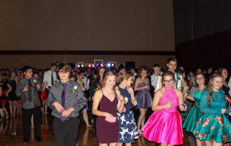 Students at the 2019 Sweetheart Dance enjoy one of several line dances during the night.