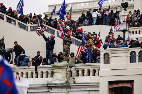 Capitol rioters on January 6 wave flags and support then President Donald Trump.