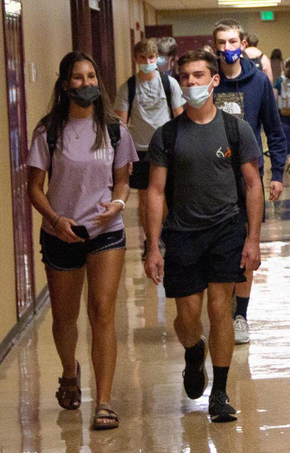 Juniors Gracia Jones and Macade Chandler follow the South Gibson mask mandate.
